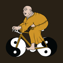 Buddha riding bike with yin yang wheels, 5x5 print