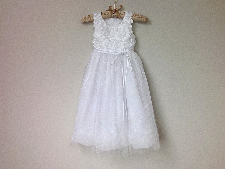 Charming Flower Girl Dress Ages 5 6 Sleeveless White Party Dress