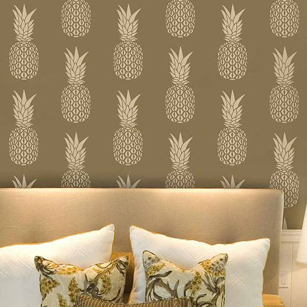 Pineapple allover stencil diy home decor stencils for for Stencil wall art