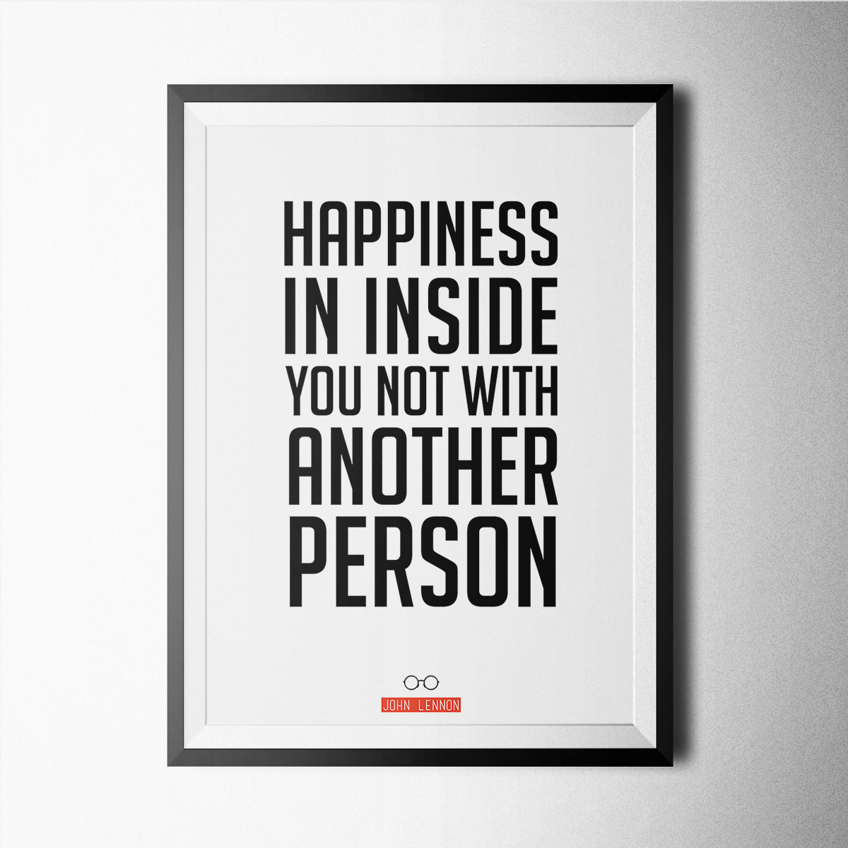 Happiness John Lennon Poster Print Wallart Minimal Black And