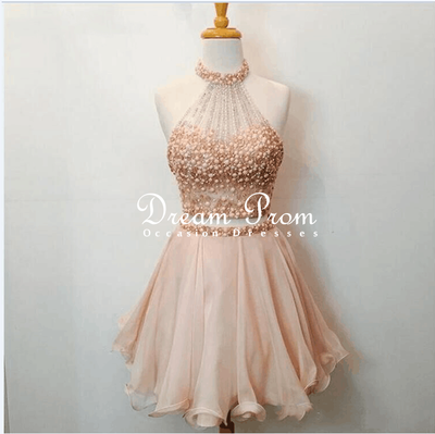 Cute 2 Pieces Champagne/Pink Beaded Short Prom Dress,Homecoming ...