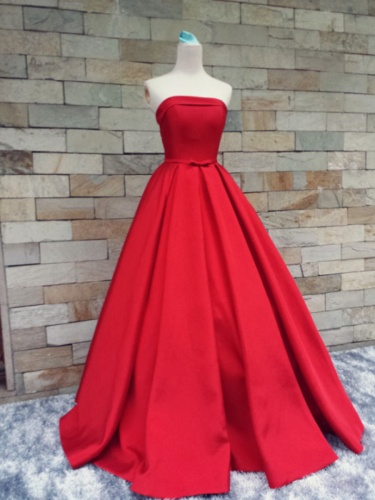 Strapless Simple Red Prom Dresses,Modest Evening Dresses ...