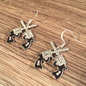 Crossed Guns Rhinestone Earrings