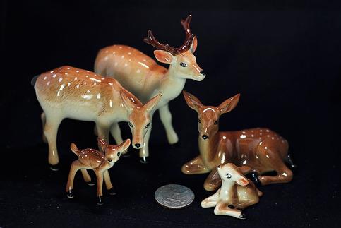 Miniature Ceramic Family Deer Figurine Terrarium Figurine