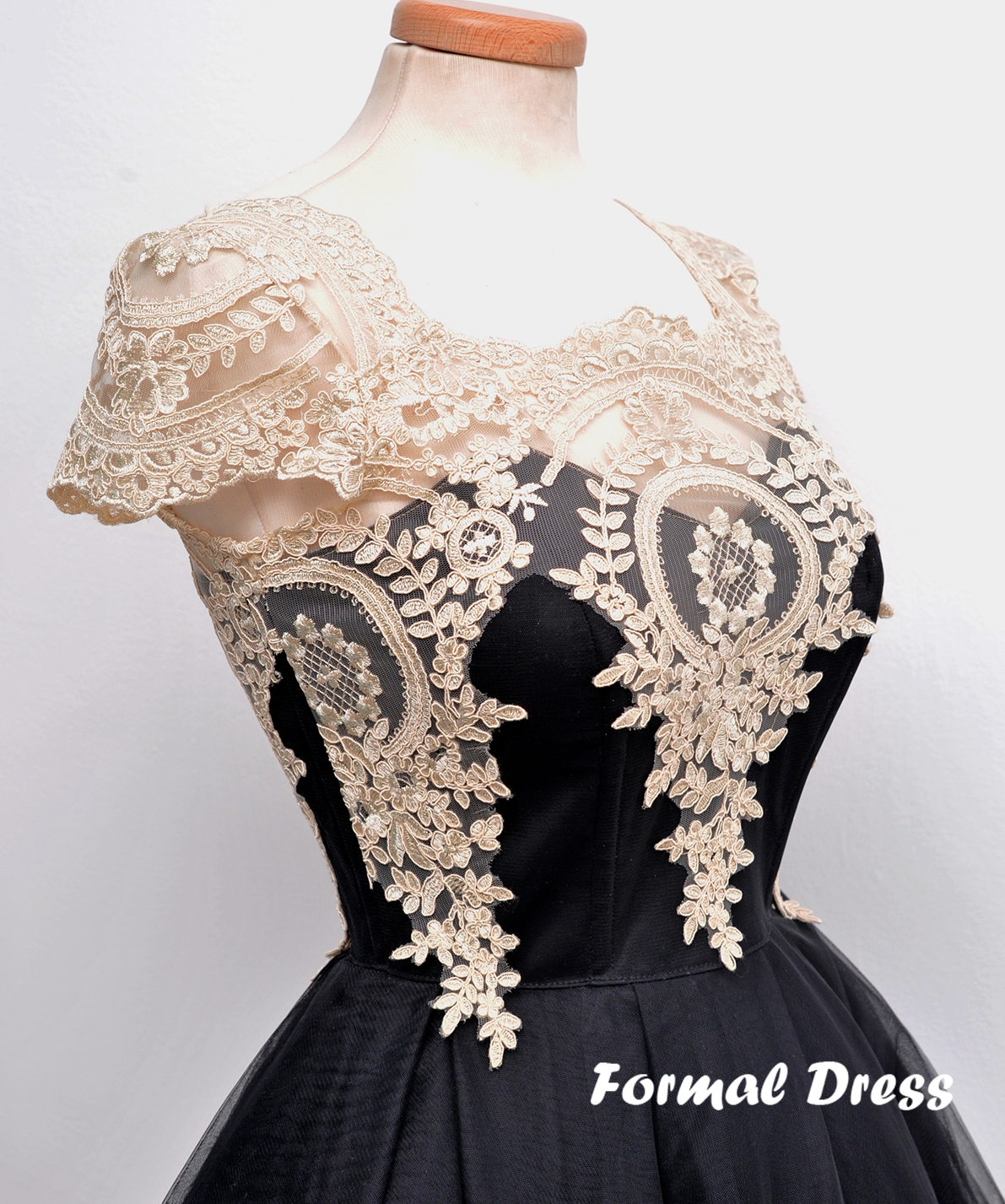 b6f9a2fd39 ... Retro Black Tulle Lace Short Prom Dresses