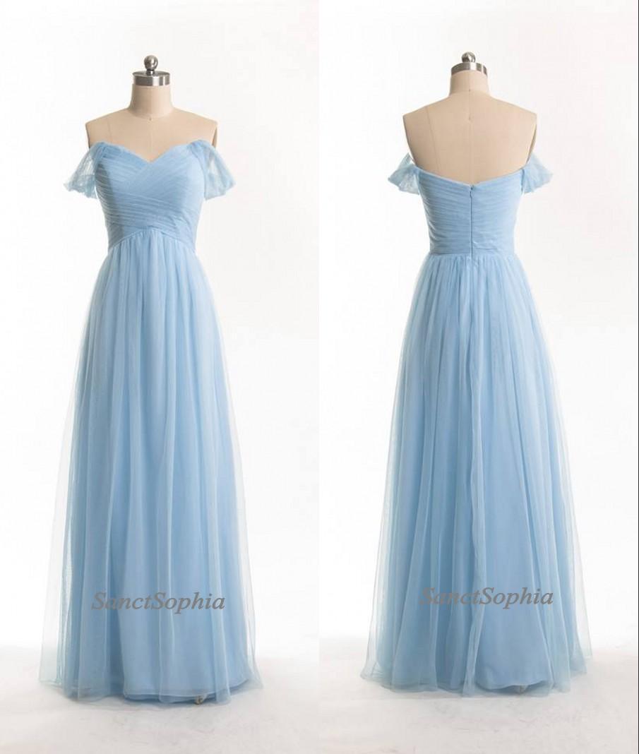 Off Shoulder Sky Blue Bridesmaid Dress,Chiffon Wedding Party Dress ...