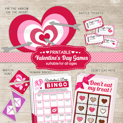 Valentine's day printable games (5 in 1 pack) valentines cupid game set for heart's day - classroom parties, teenagers, family for all ages