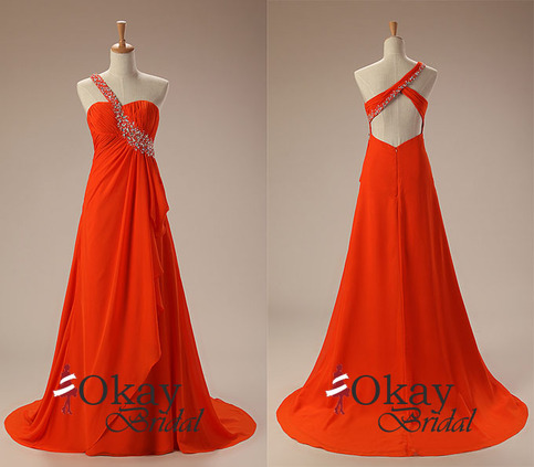 burnt orange prom dresschiffon prom dresspretty prom