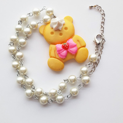 Pearl resin teddy bear cookie pink strawberry bow short necklace kawaii harajuku fashion