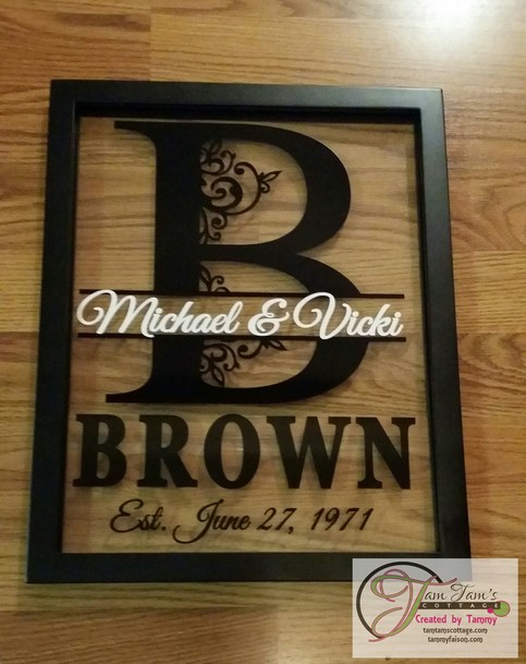 personalized last name floating frame 11x14 on storenvy