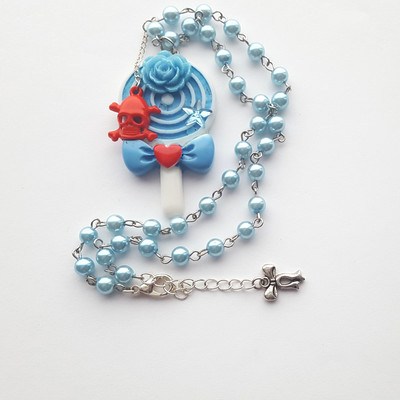 Blue pearl white resin lollipop rose skull necklace candy kawaii harajuku fashion
