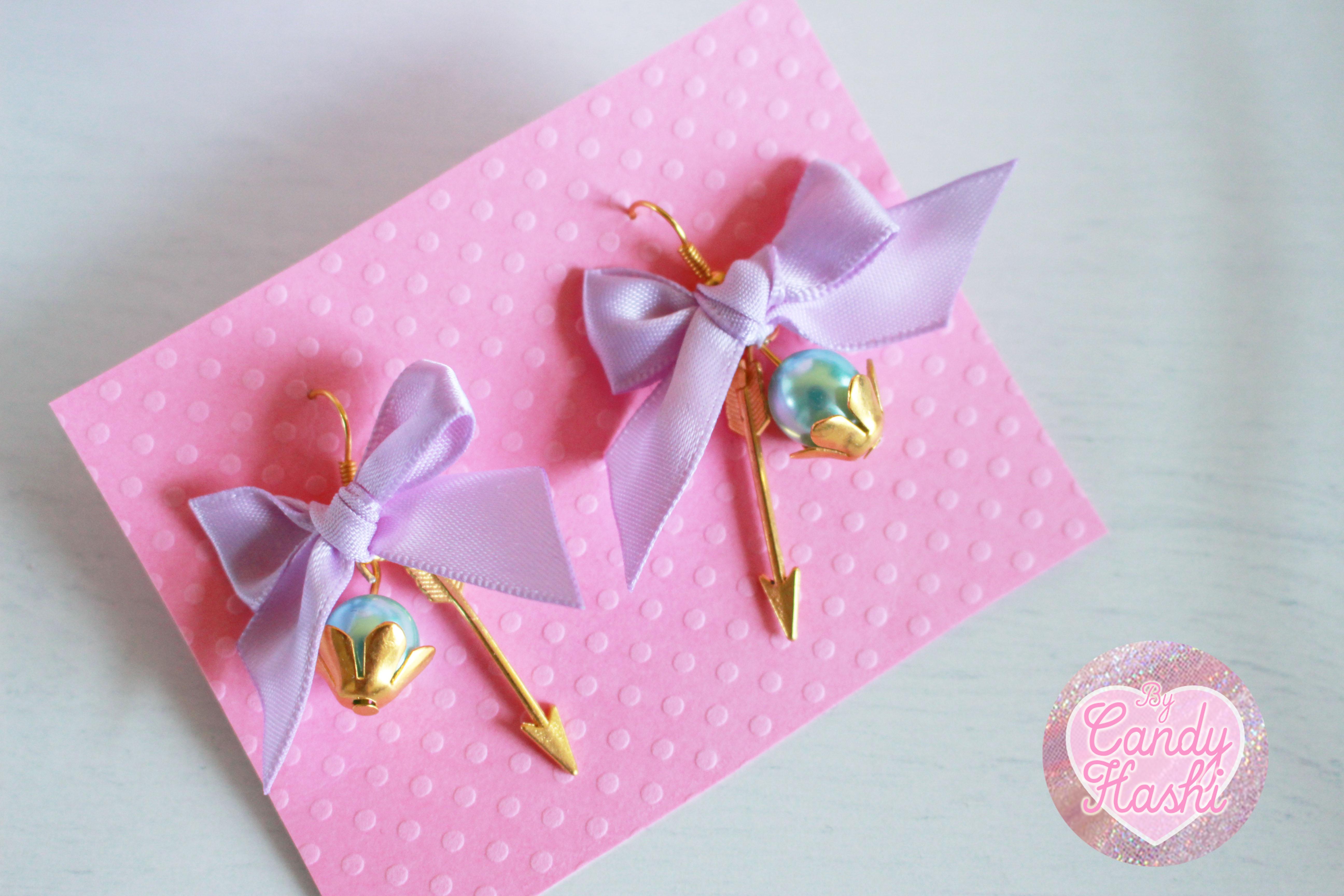 Delicate Ribbon Earrings in Lavender · Power MilkShake · Online ...