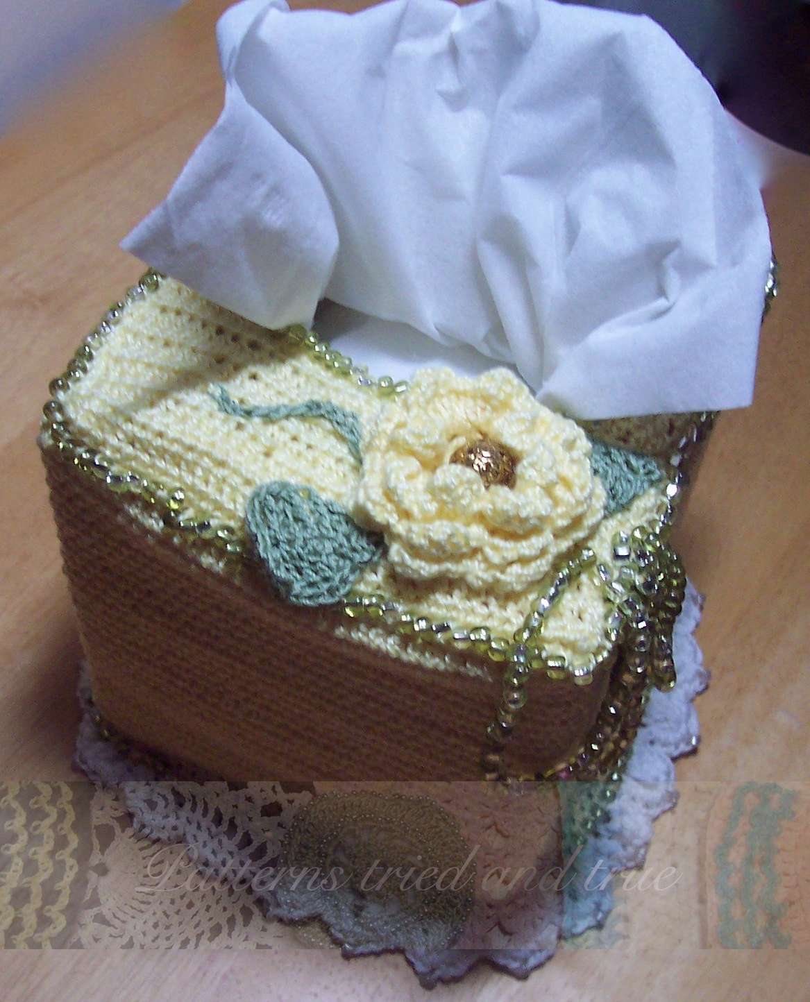 Crochet Tissue/ Kleenex Box Cover with Beaded Floral Embellishments ...