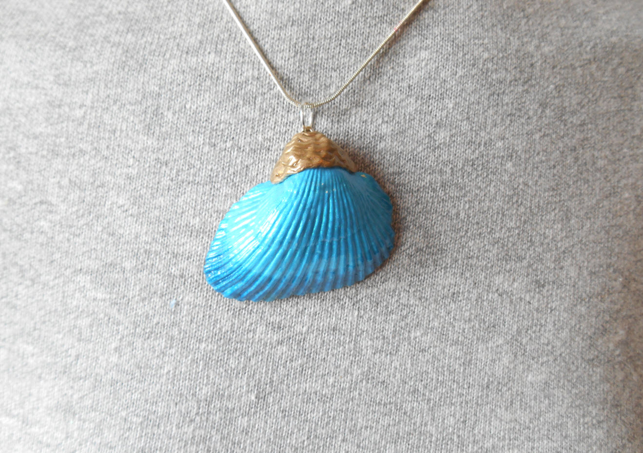 Teal And Blue Seashell Pendant Mermaid Accessories Beach