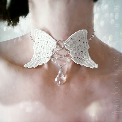 Just like heaven lace angel wings corset choker