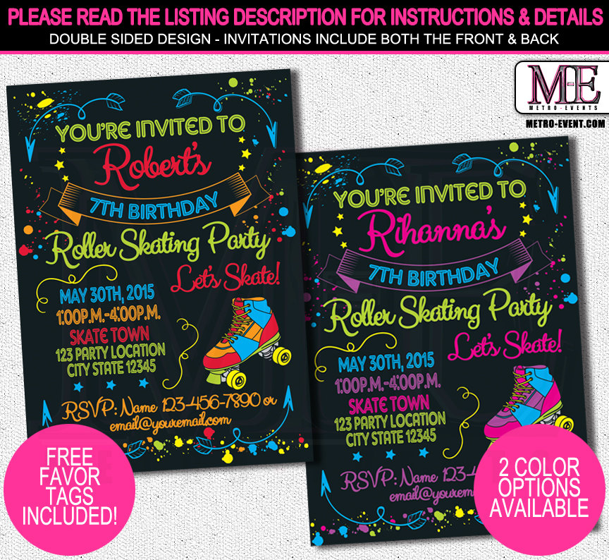 Skate Party Invitations Metro Events Party Supplies Online Store