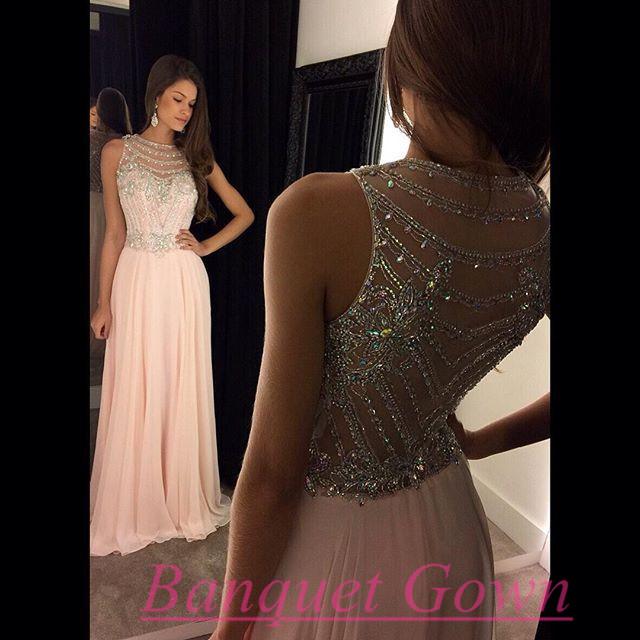 Charming Sparkly Beaded Pink Prom Dress,Chiffon Prom Dress,O-Neck ...