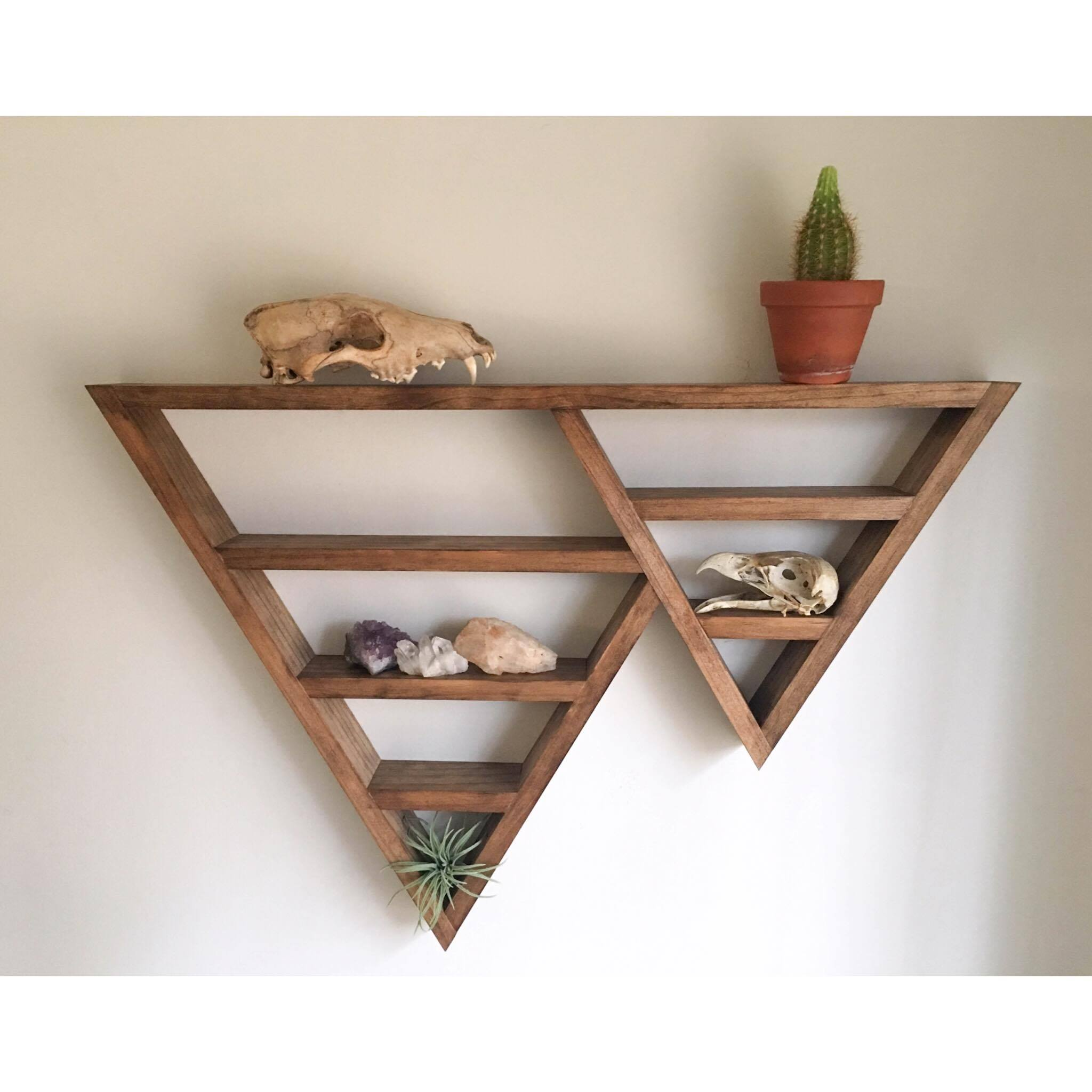 Triangle shelf crystal shelf shadow box wood shelf for Altar wall decoration