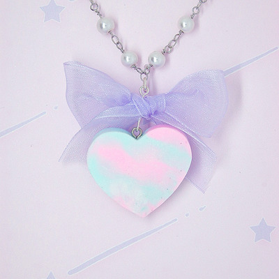 Marble pastel heart with bow♡02