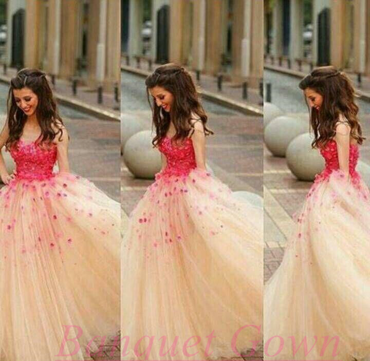 2016 Ball Gown Puffy Long Prom Dresses Red Flowers Tulle Sleeveless