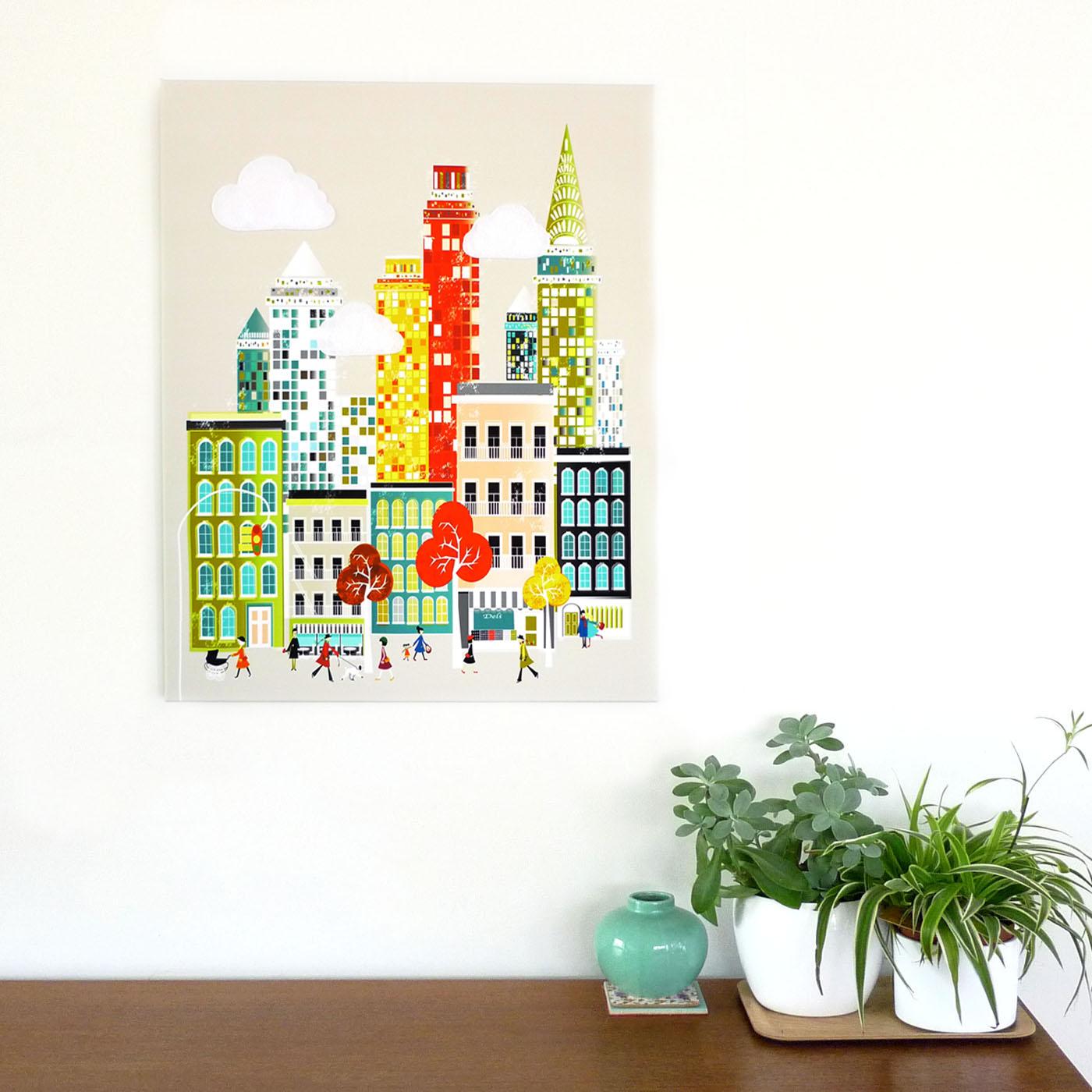 ... New York Wall Art, Manhattan Skyline, Framed Canvas Wall Art, Cityscape  Illustration,