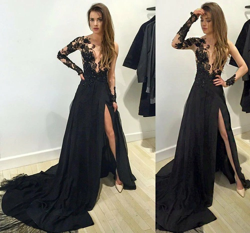 formal dress black lace long sleeve long prom dress