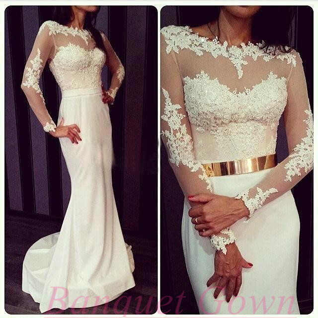 2016 Princess White Lace Long Sleeves Mermaid Evening Gowns with ...