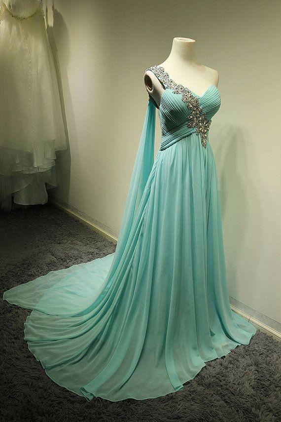 2016 One Shoulder Chiffon Prom Dress 2016 Ruffles Sweep Train A ...