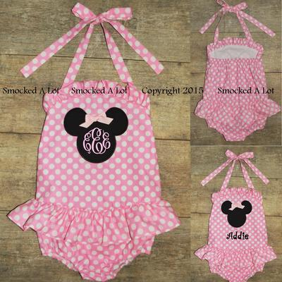 Minnie mouse swimsuit 1pc pink polka dot