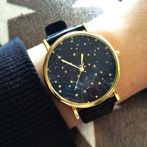 Constellation watch sky full of stars vintage style leather watch women watches unisex watch for Watches for women