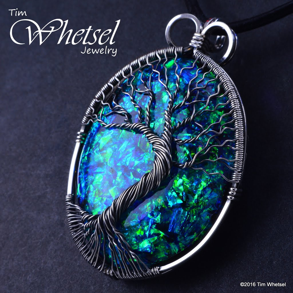 Sterling Silver Tree of Life Opalescent Orgonite Pendant - Wire Wrap ...
