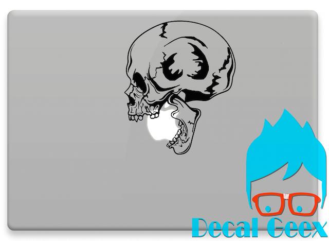 Biting skull macbook laptop sticker decal