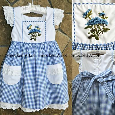 """blue bonnet"" gingham embroidered dress"