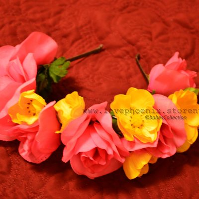 Pink and yellow floral headband