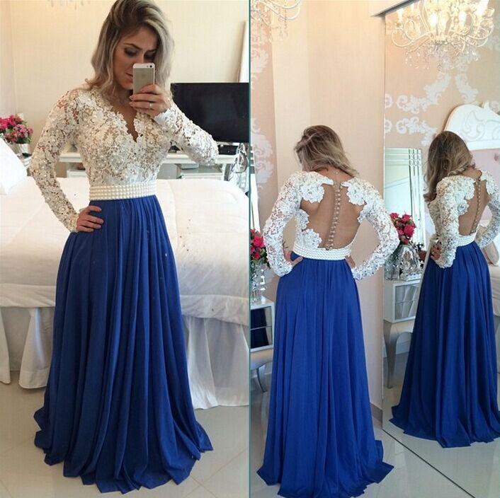 long sleeves lace button beading blue chiffon long prom dress ...