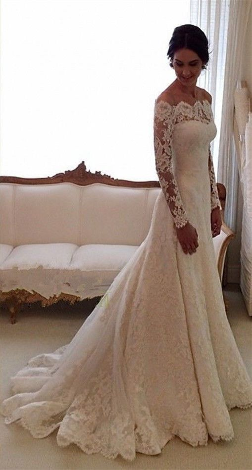 Beauty Long sleeves chapel train mermaid lace wedding dress,wedding ...