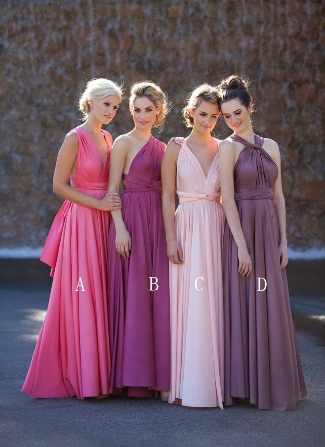 A-line sleeveless sash empire wasit bridesmaid dress,pink colorful ...