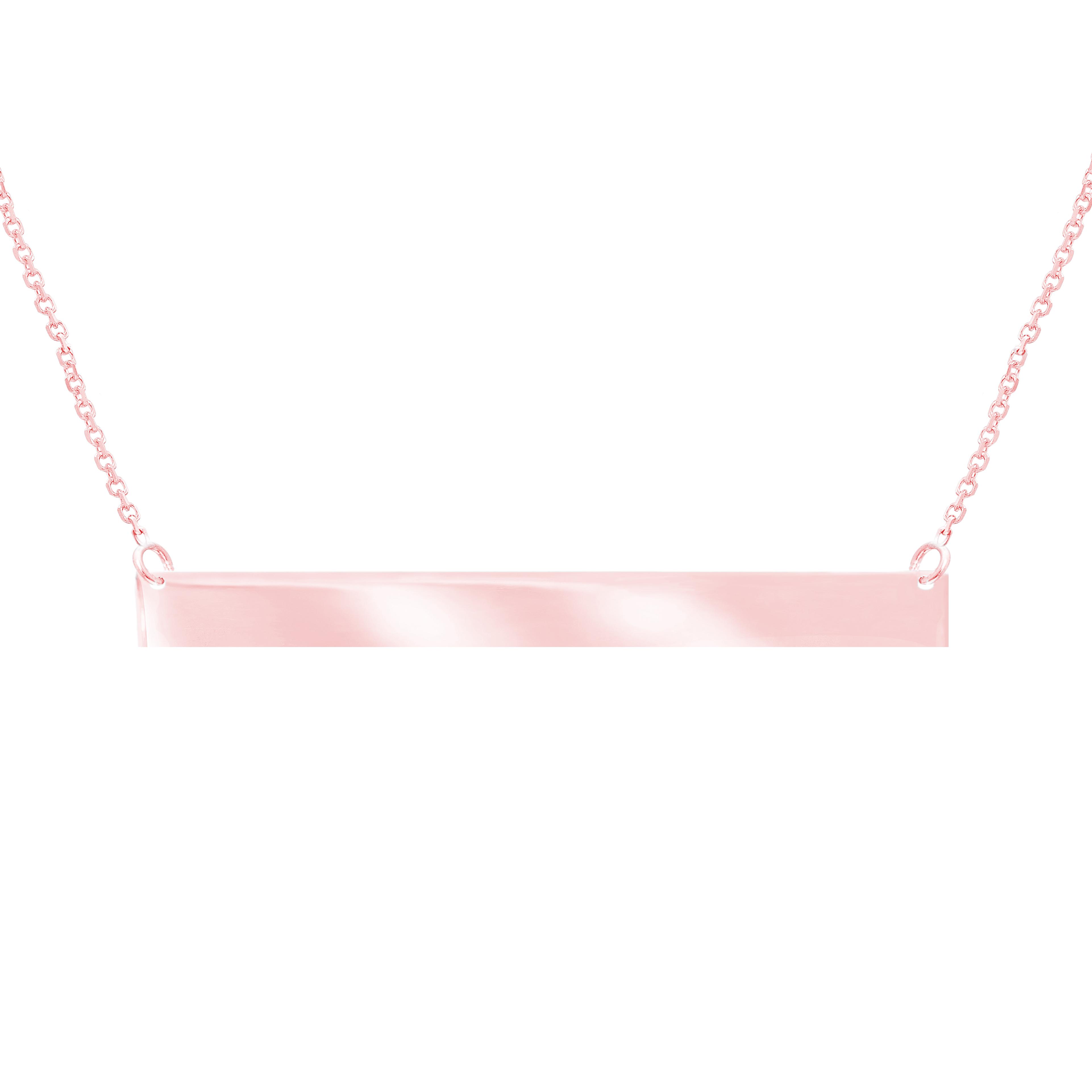 Women s 14k Rose Gold Horizontal Thin Nameplate Bar Pendant Necklace 18  Inch Chain 5174dd8cb