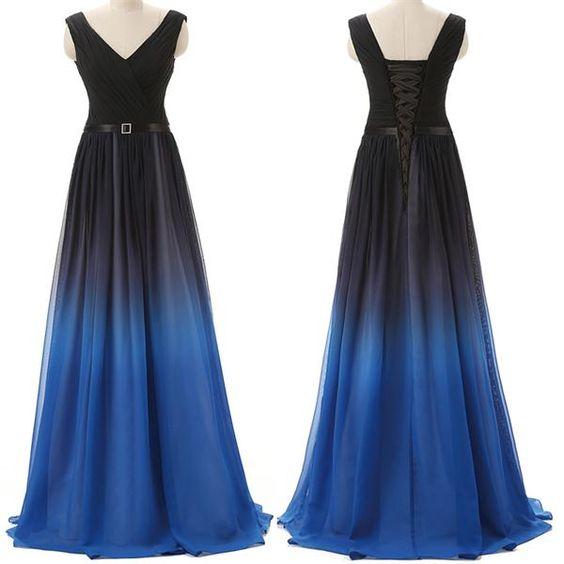 long prom dress, gradient prom dress, v-neck prom dress, Cheap prom ...