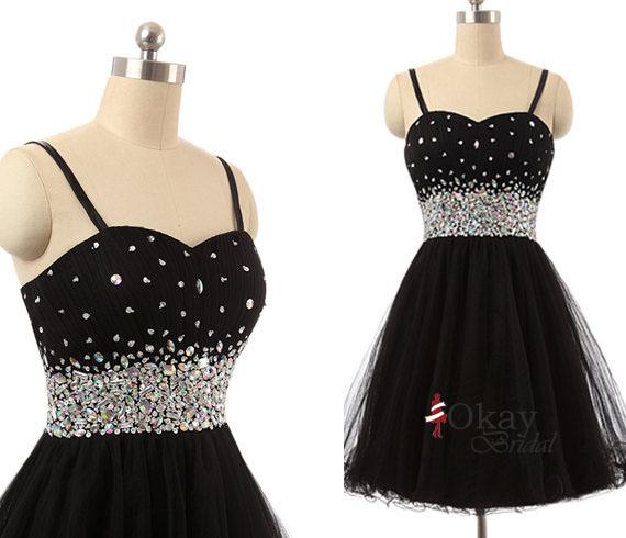Sweetheart Prom Dress,Black Prom Dress,Tulle Prom Dress,Rhinestone ...