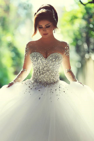 Crystal Beaded Bodice Long Sleeve Wedding DressBall Gown Tulle Skirt Bridal DressSparkly