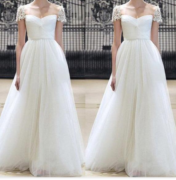 White Prom Dress, Unique Bridesmaid Dress, Elegant Prom Dress, Cap ...