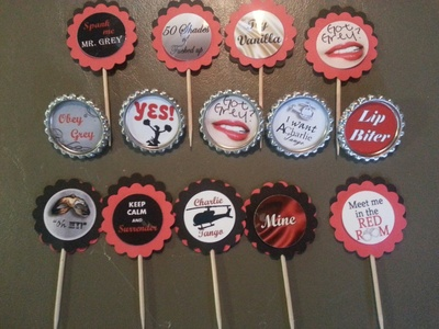 50 shades of grey cupcake toppers