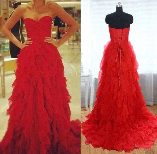 Hot Sales Red Tulle High Low Ball Gown Prom Dresses Tiered Skirt