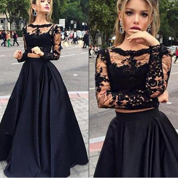 Long Prom Dress ,Black Prom Dress,Prom Dress With Lace ,Long Sleeve ...