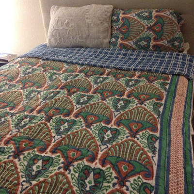 Brown and green ikat quilt (twin)