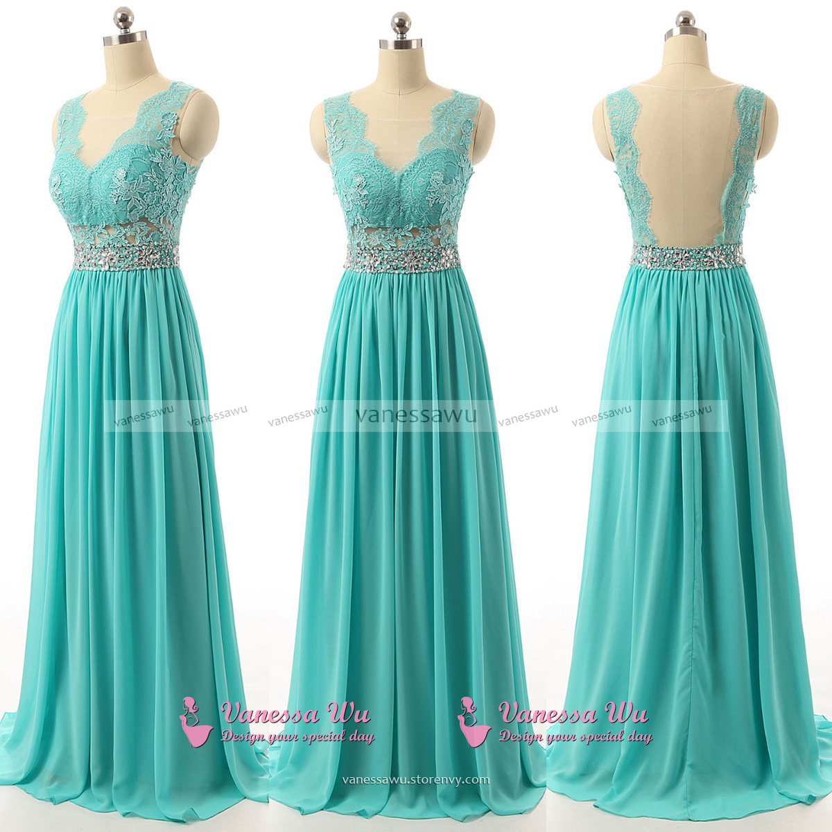 Backless Prom Dresses with Cutouts, Lace V-neck Prom Dresses with ...