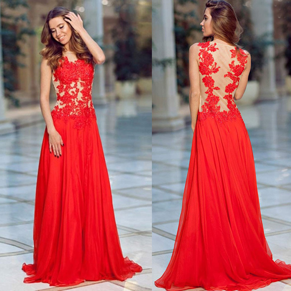 Illusion Prom Dresses Red Floral Lace Prom Dresses Chiffon Prom
