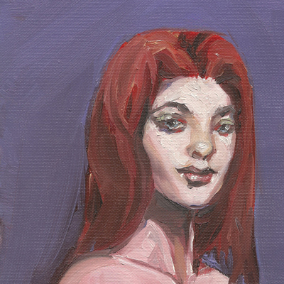 Red head portrait in oil paint - print