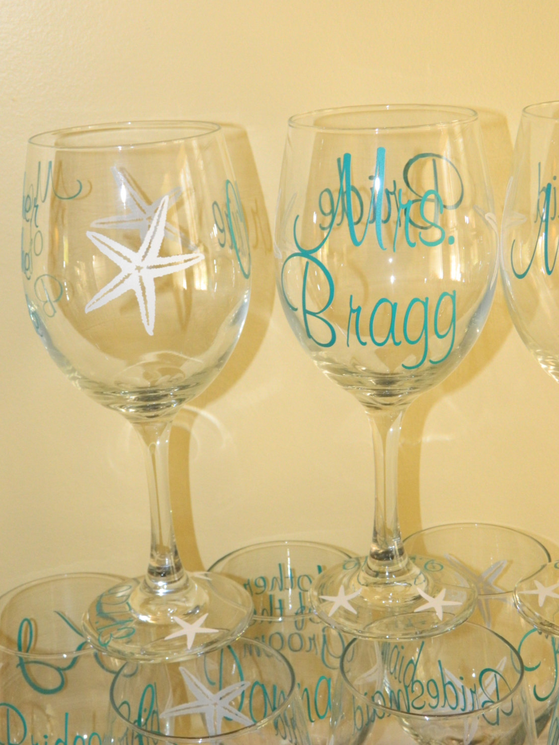 Personalized Beach Theme Wedding Glasses With Or Without Titles